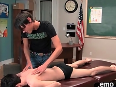 Downcast twink gets a massage and gives head