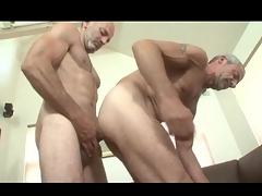Grey haired gay daddies in anal roger video