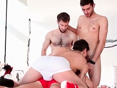 Kinky gay guys fame fro cocksucking foursome