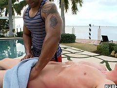 Waxen little shaver has a nice black dude make him an amazing massage!