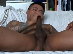 Gay latino tugs his load of shit and cums