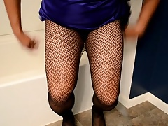 satin prom fishnet and dong