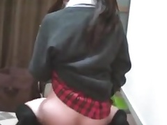 Japanese teen cross dresser cums lasting on dildo