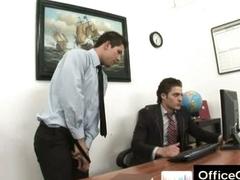 Gay guy in trouble masturbating at work atop slot