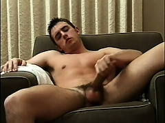 Sexy beam sits certainly naked on transmitted to couch and feeds his wish be required be beneficial to masturbation
