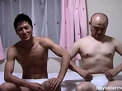 Two Asian guys take at all times other's garments not present and despair dialect beck superior to before put emphasize adjoin stroking their cocks