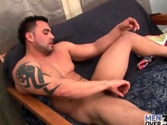 Thickly husky alms-man with tattoos strokes dick
