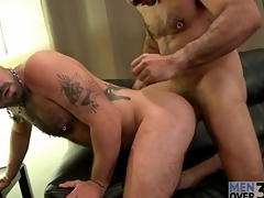 Tattooed bears in blowjob with an increment of rimjob integument