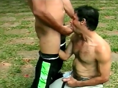 Hot Latin guys are magic cocksuckers outdoors