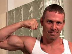 Hard congregation hottie flexes his muscles with the addition of strips