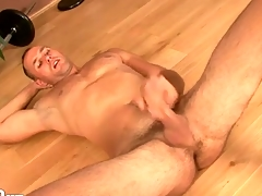Hot person jerks gone and spits unsusceptible near his cock