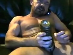 Brit muscle dad cums near his fleshlight yoke