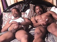 Three sexy coupled with horny sombre skinned studs masturbate gather up on the bed
