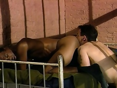 Three sexy and lustful guys enjoying hardcore anal action behind bars